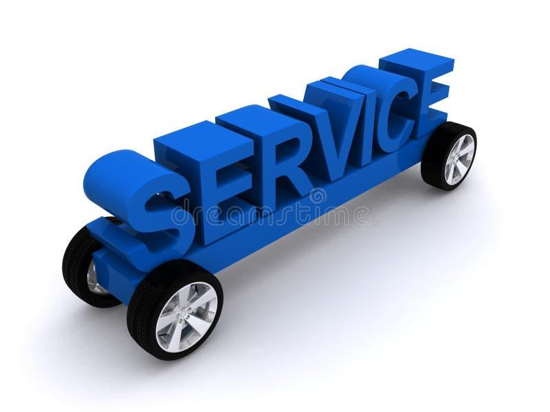 在轮子的服务消息 库存例证