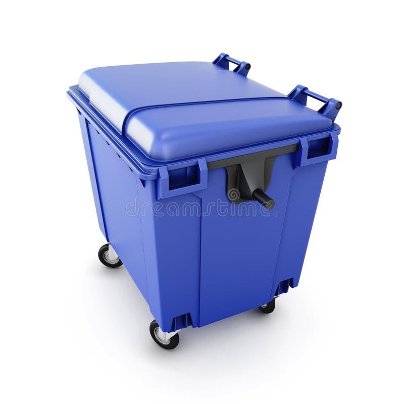 在轮子的蓝色垃圾箱 库存例证