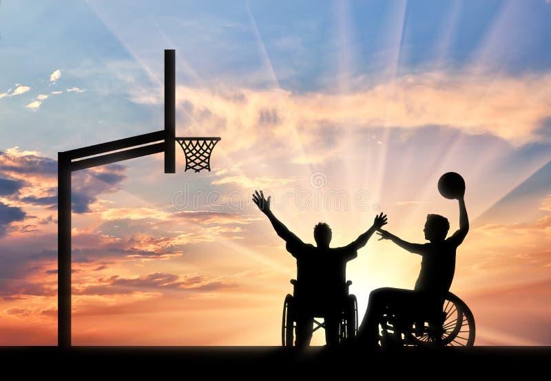 在轮椅戏剧篮球的残疾paralympians 图库摄影