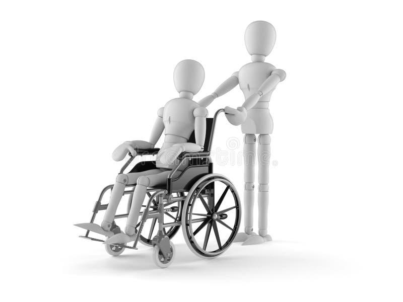 在轮椅的白色假的字符 向量例证