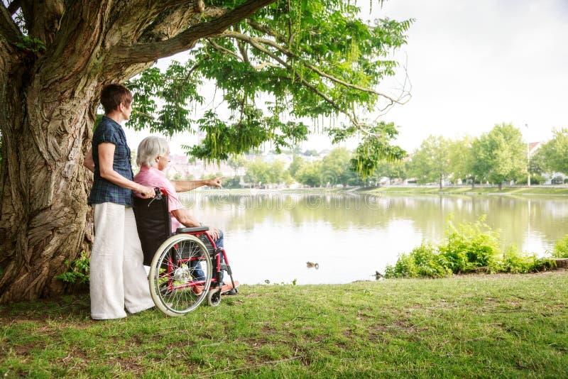 在轮椅的资深夫妇 免版税库存图片