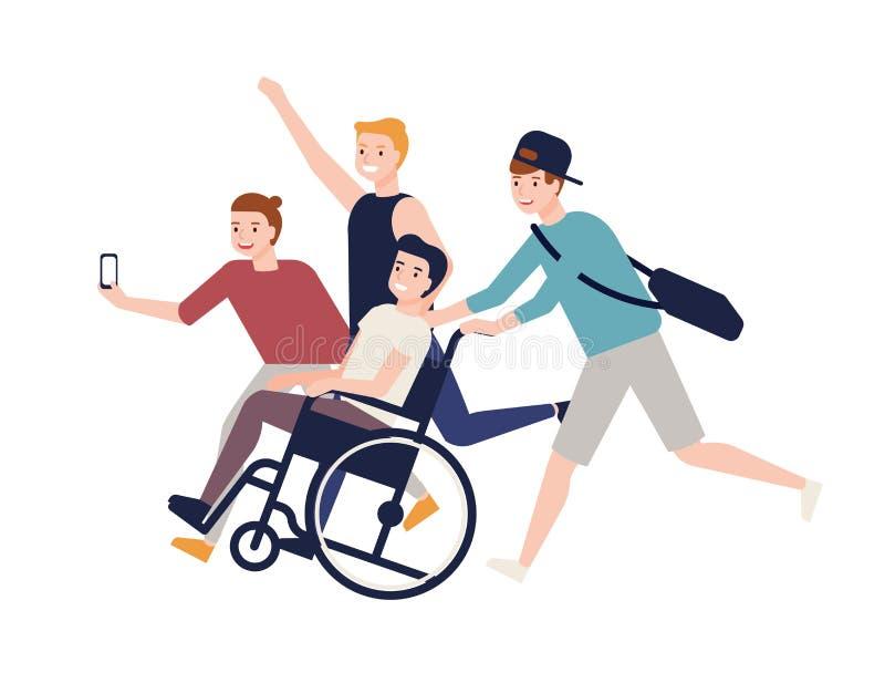 在轮椅的运载的男孩开会和做selfie的小组疯狂的愉快的朋友跑, 友谊和支持为 皇族释放例证