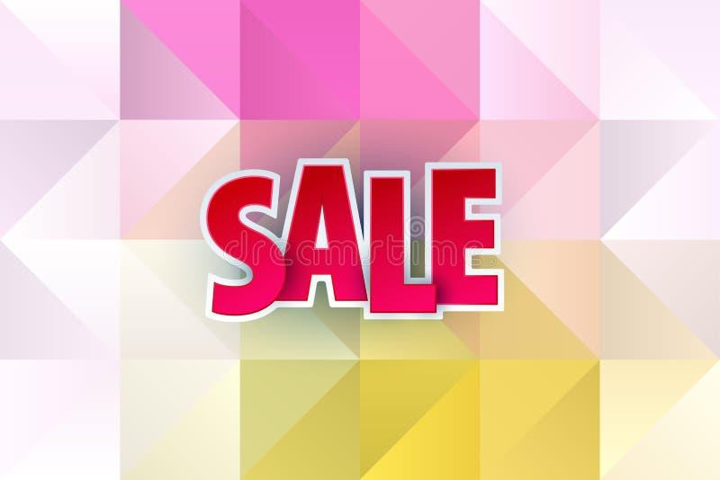 在软的多角形典雅的背景的销售抽象横幅模板设计 特价优待,购物的五颜六色的信件 库存例证