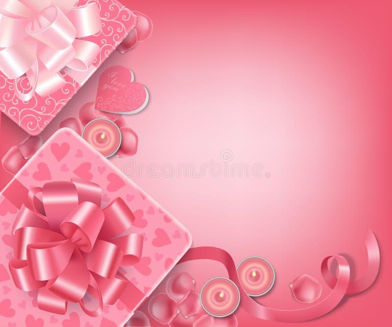 在软的桃红色颜色的华伦泰背景 库存例证
