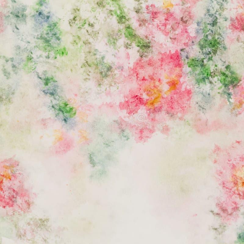 在软的淡色的精美桃红色花在迷离样式 抽象背景水彩 向量例证