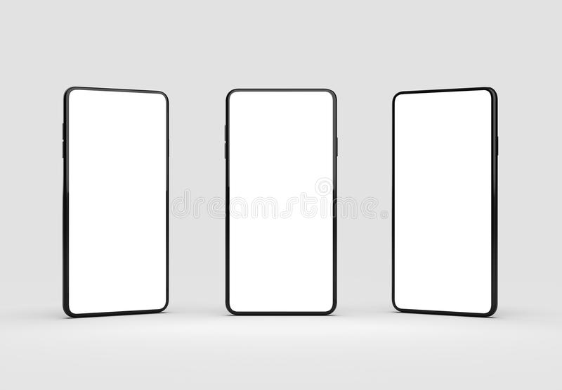 在软的灰色背景隔绝的整个银幕的聪明的电话嘲笑 向量例证