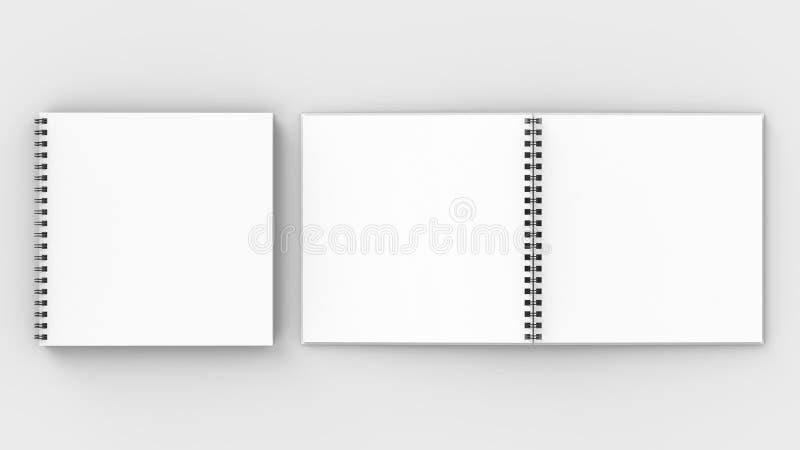 在软的灰色bac隔绝的方形的螺旋装订笔记本嘲笑 库存例证