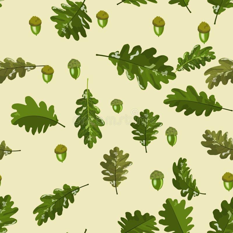 在软的米黄背景的橡木叶子和橡子无缝的样式 库存例证