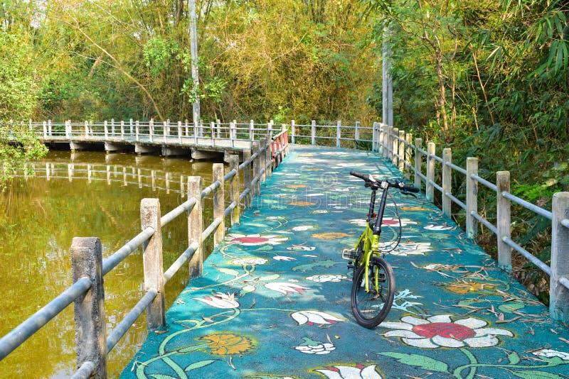 在轰隆Kachao公园骑自行车在运河旁边的车道 图库摄影