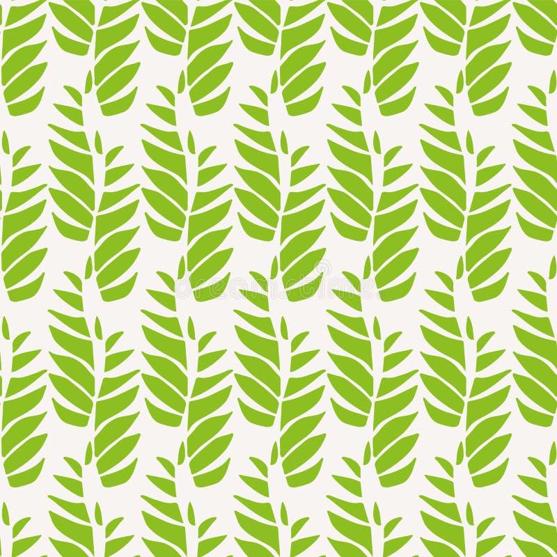 在轻松的垂直的几何设计的绿色抽象叶子 在轻的背景的无缝的传染媒介样式伟大为温泉 向量例证