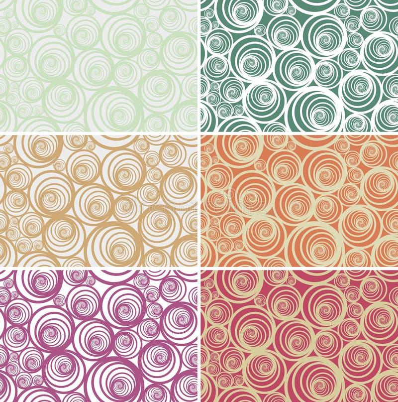 在轻的各种各样的颜色的无缝的螺旋传染媒介样式 向量例证