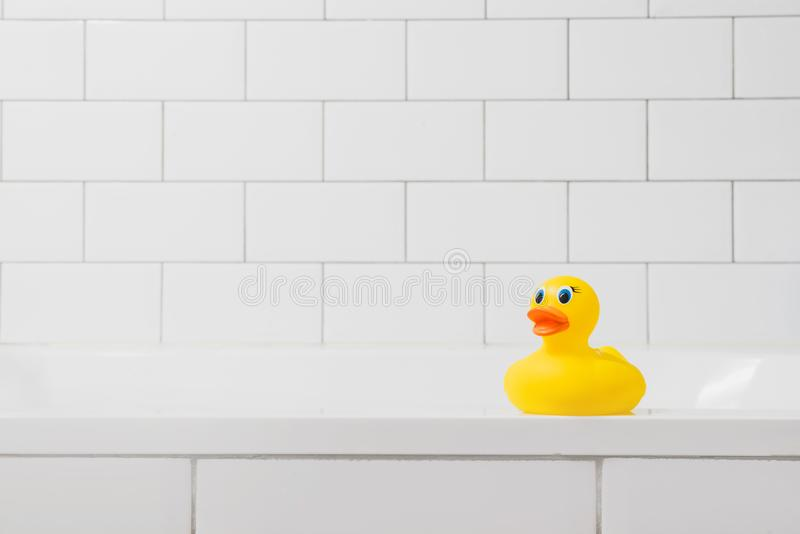 在轻的砖背景的卫生间里戏弄黄色鸭子 免版税库存照片
