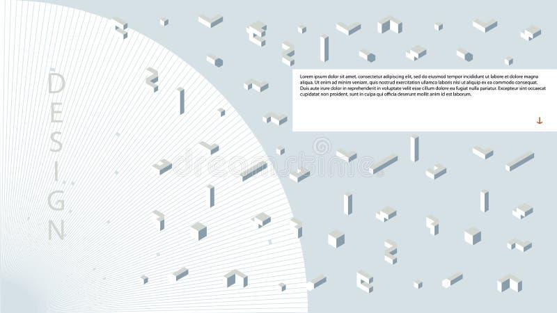 在轻的背景的三维几何形状 白色,灰色颜色 也corel凹道例证向量 皇族释放例证