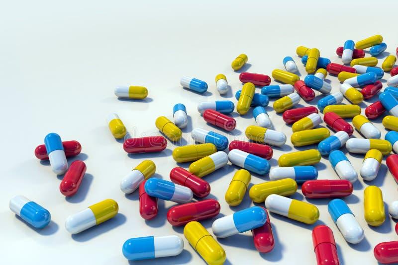 在轻的背景的五颜六色的医学胶囊 向量例证