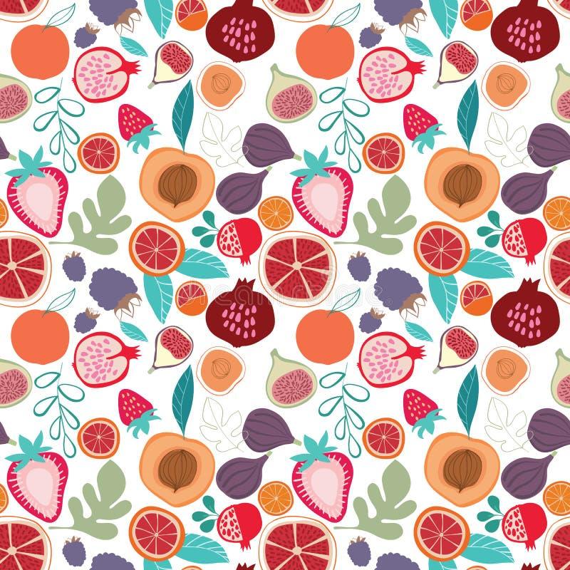 在轻的背景的传染媒介五颜六色的鲜美时髦热带水果无缝的样式 库存例证