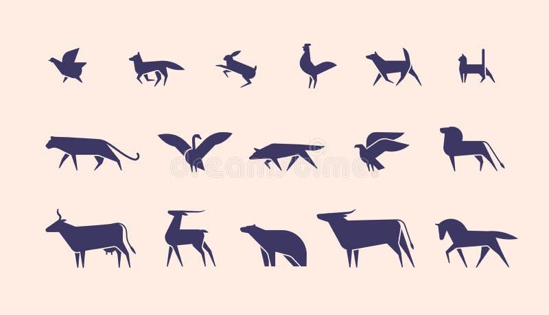 在轻的背景隔绝的剪影的野生和家畜和鸟汇集或形状,侧视图 向量例证