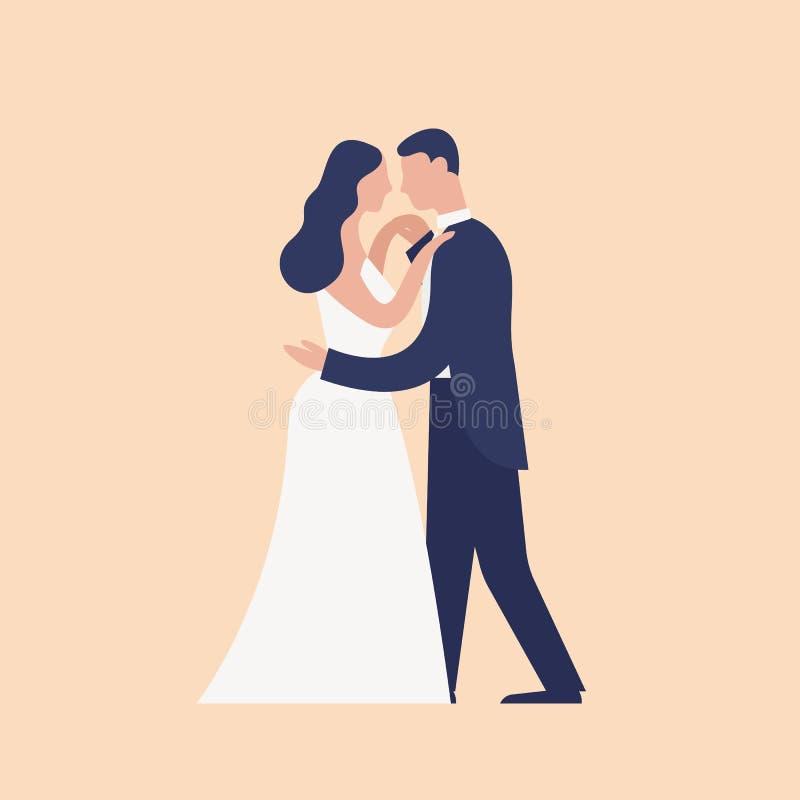在轻的背景隔绝的可爱的跳舞的新婚佳偶 逗人喜爱的浪漫已婚夫妇第一个舞蹈  o 库存例证