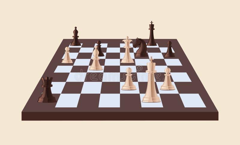 在轻的背景隔绝的棋枰的黑白棋子 在方格的委员会打的战略比赛 皇族释放例证