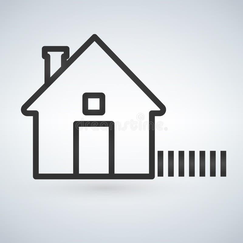 在轻的背景隔绝的概述家庭象 议院图表 线您的网站设计的主页标志,商标, app, UI Vec 皇族释放例证
