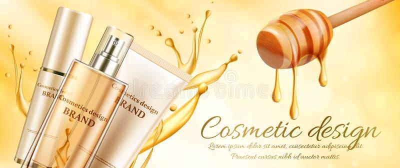 在轻的蜂蜜横幅的创新化妆品广告与蜂窝和纯净的蜂蜜 化妆用品成套设计 皇族释放例证