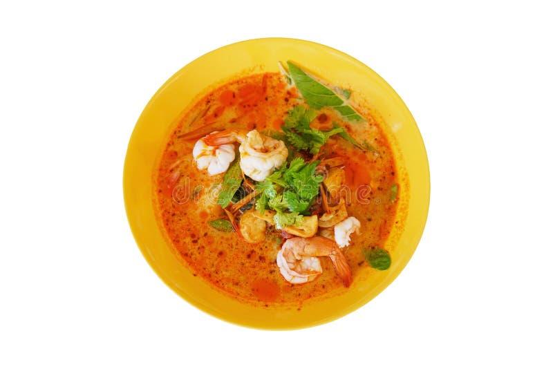 在辣汤,汤姆Goong,泰国可口著名食物的自创大虾,隔绝在白色包括的裁减路线 库存图片