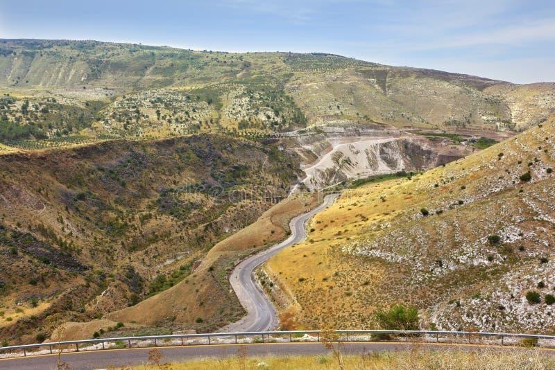 在边界的Yarmouk河谷在约旦和以色列之间 免版税库存照片