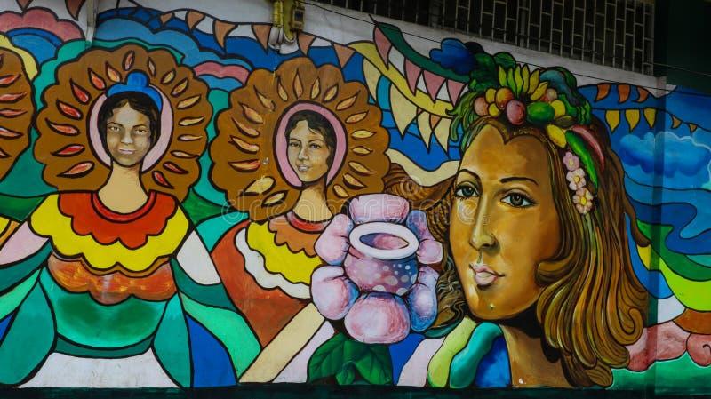 在边路街市Iriga市的壁画 免版税库存图片