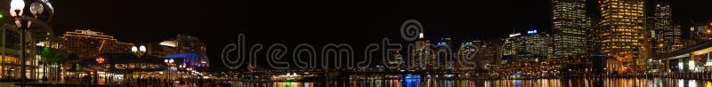 在达令港, NSW的夜都市风景全景摄影 免版税库存图片