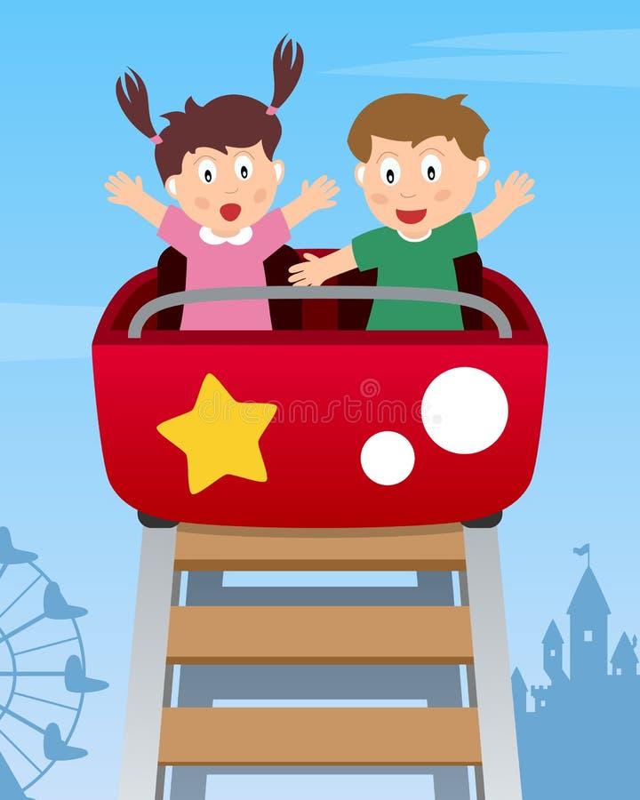 在过山车的愉快的孩子 皇族释放例证