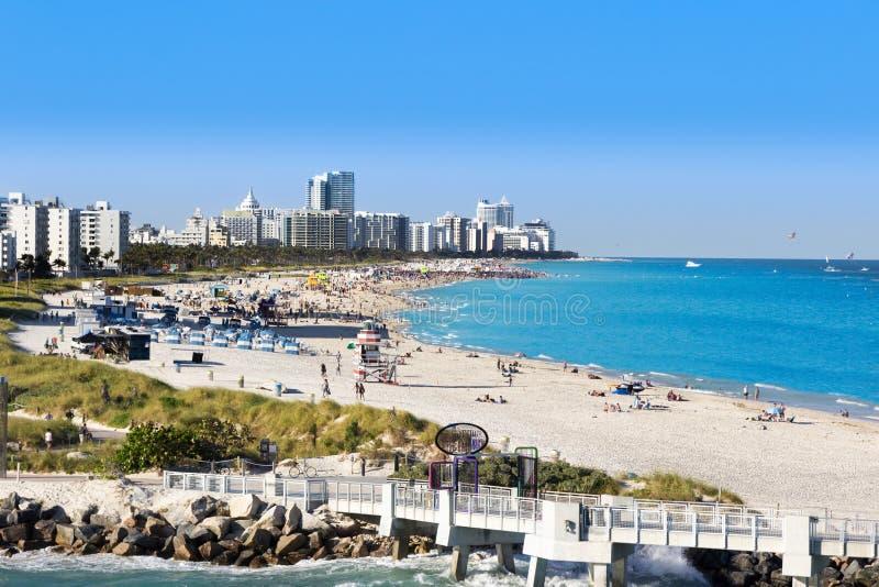 在迈阿密南海滩的看法 南Pointe码头 图库摄影