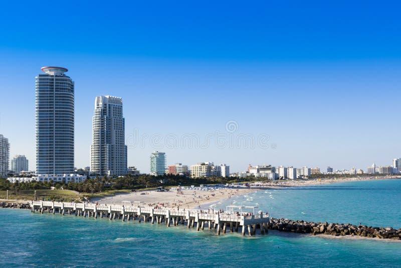 在迈阿密南海滩的看法 南Pointe码头 库存图片