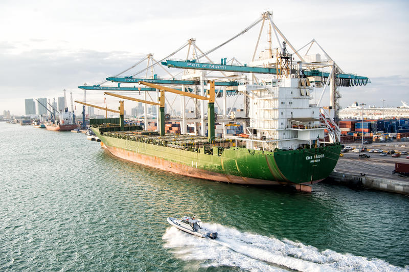 在迈阿密港口的货船有在海的起重机的 免版税图库摄影