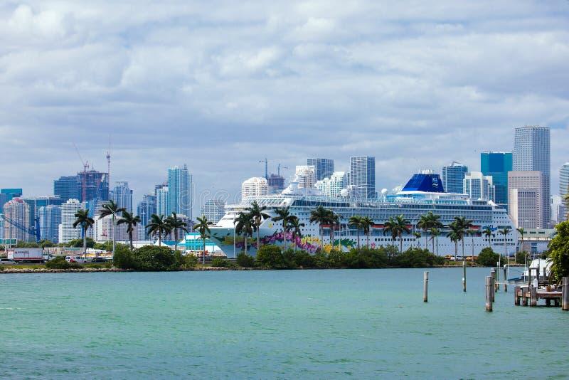 在迈阿密港的游轮  免版税库存照片