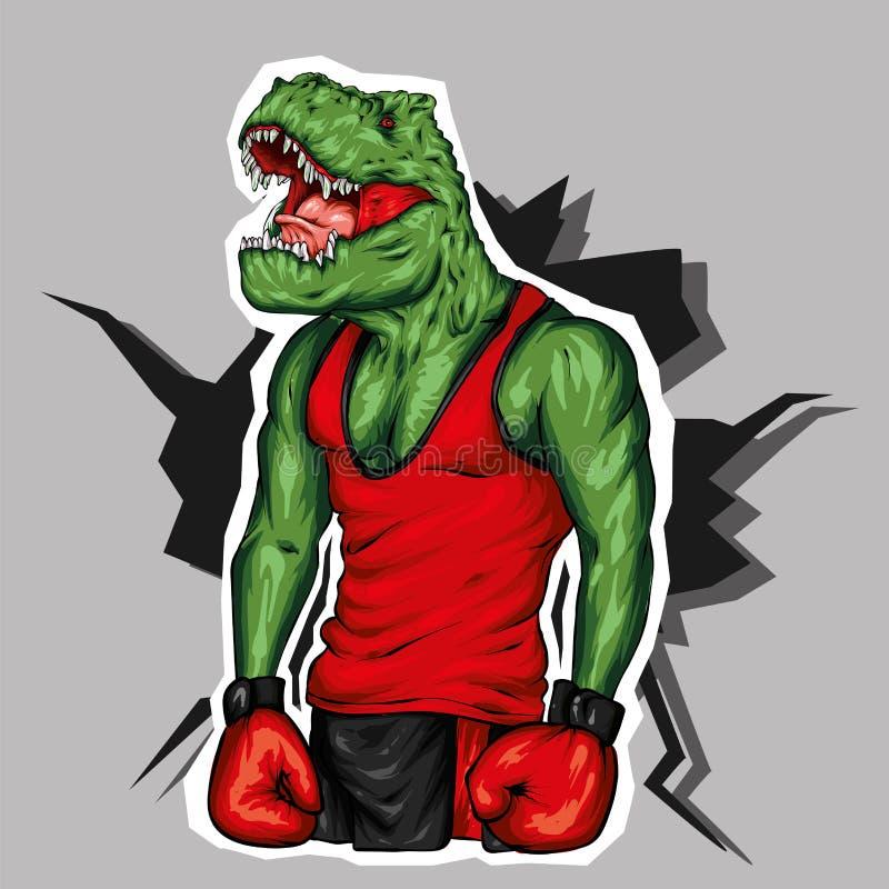 在运动服和拳击手套的恐龙 加大的人 r 贺卡或海报的传染媒介例证 库存例证