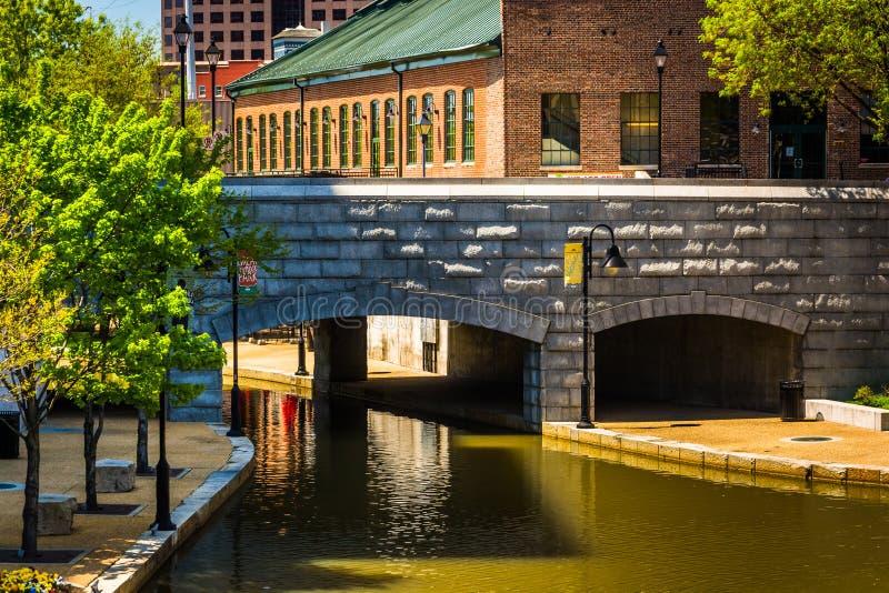 在运河的桥梁在里士满,弗吉尼亚 库存图片