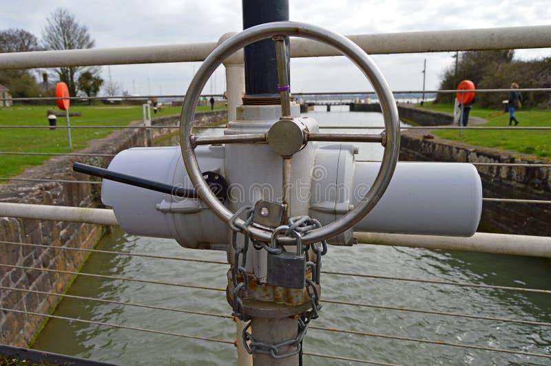 在运河锁的Sluce控制 免版税库存图片