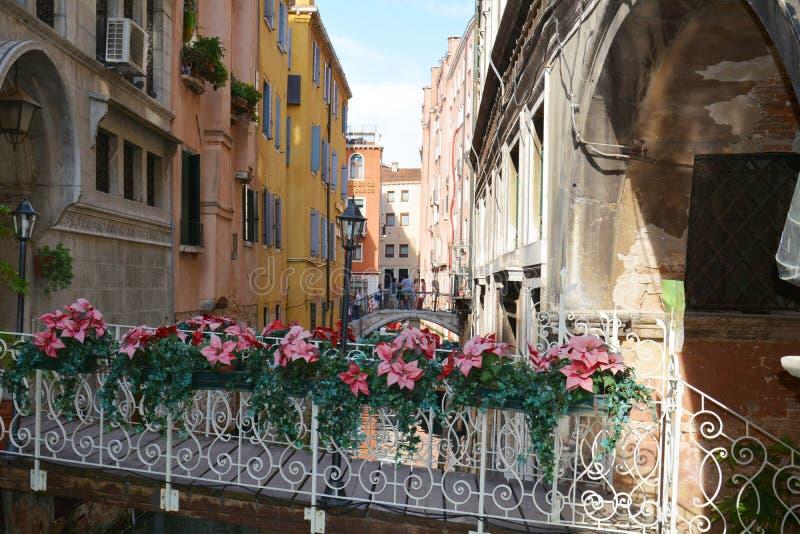 在运河,葡萄酒,威尼斯,意大利的桥梁 库存图片