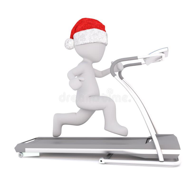 在运行圣诞老人的帽子的唯一3D图在踏车 向量例证