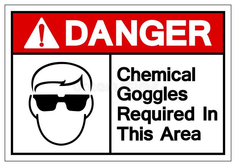 在这个区域标志标志需要的危险化工风镜,传染媒介例证,在白色背景标签的孤立 EPS10 皇族释放例证