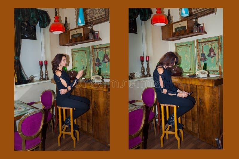 在这名例子妇女的正确和不正确开会在caf坐 库存照片
