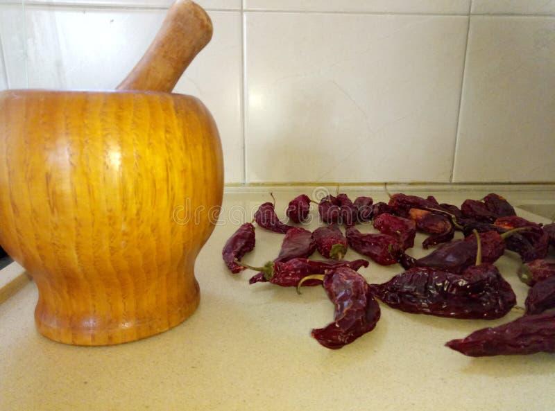 在进入烹调罐前的一个白种人盘用白种人肉, Doshpra填装了 图库摄影