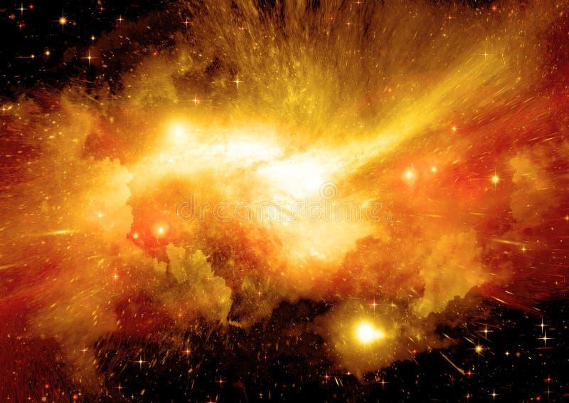 在远的星系的星、尘土和气体星云 库存图片
