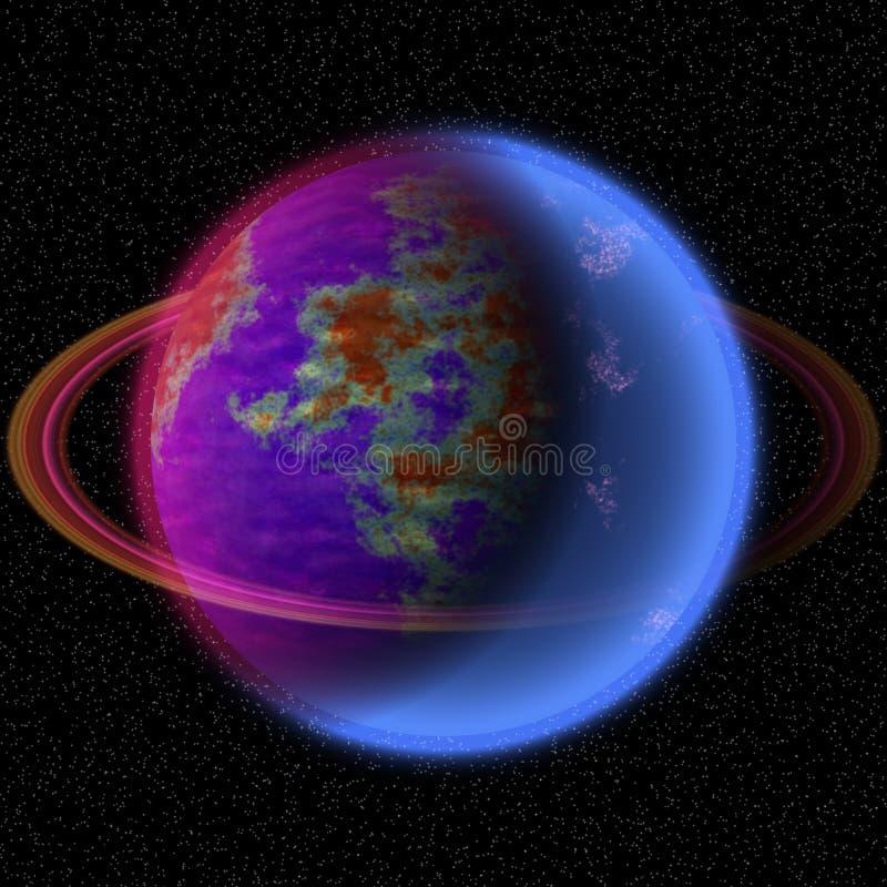 在远的uniferse的走路的行星 与某处五颜六色的圆环的抽象行星 皇族释放例证