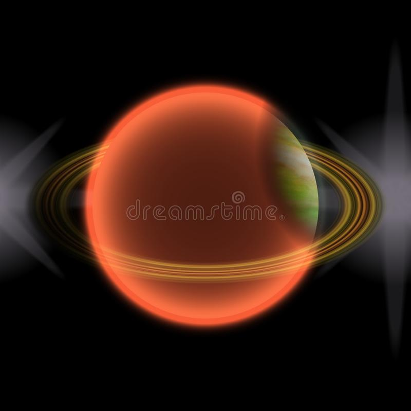 在远的uniferse的走路的行星 与某处五颜六色的圆环的抽象行星 向量例证