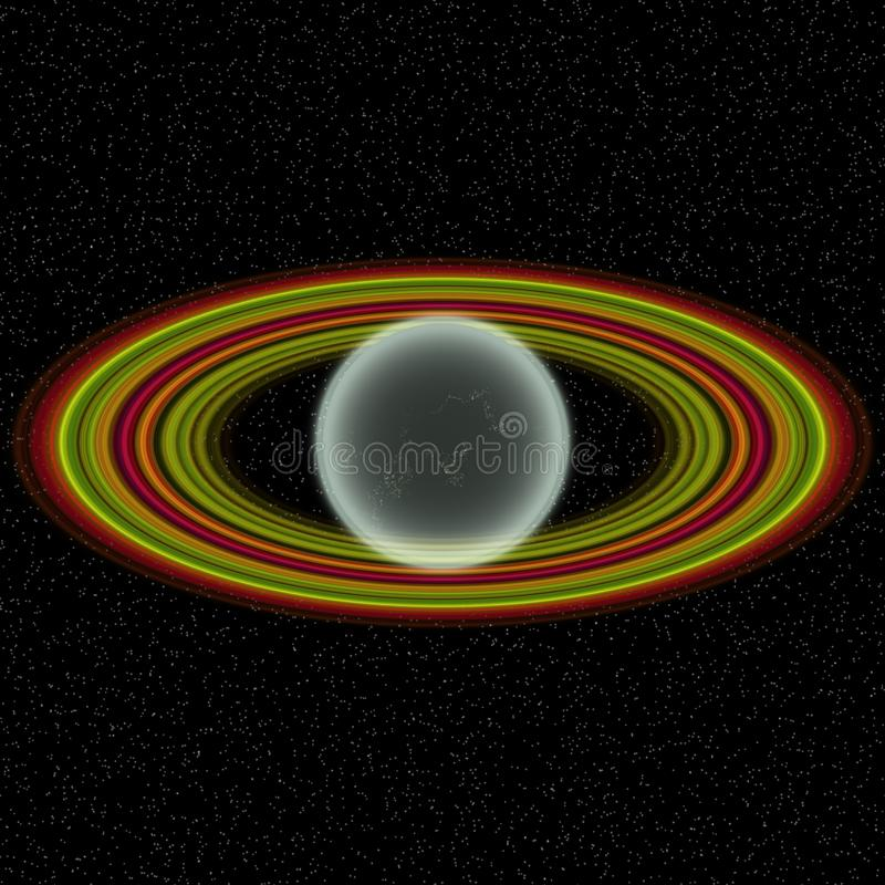 在远的uniferse的走路的行星 与某处五颜六色的圆环的抽象行星 库存例证