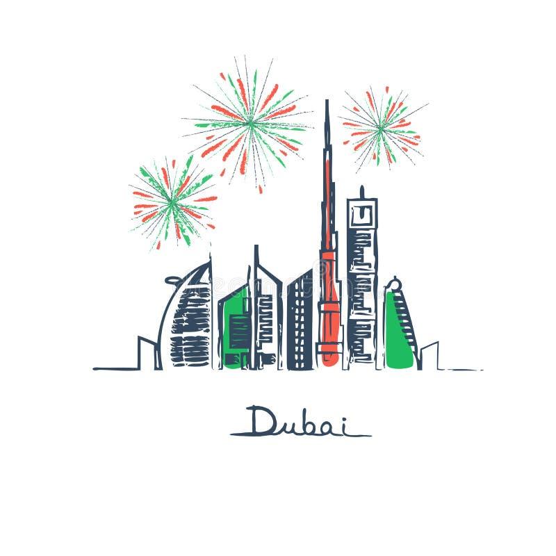 在迪拜市旗子颜色的烟花 皇族释放例证