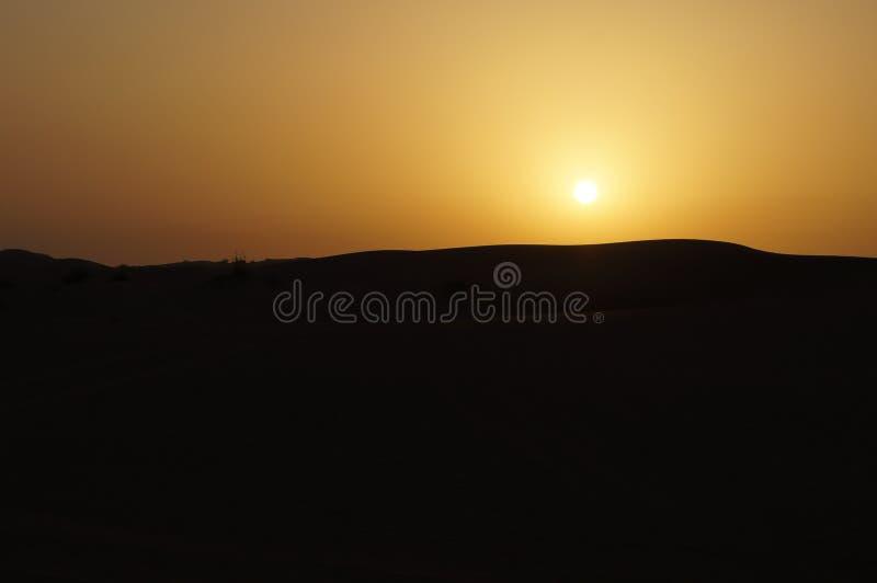 在迪拜的沙漠沙丘的日落 库存图片