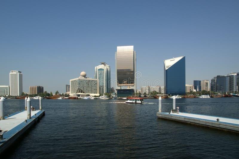 在迪拜,阿拉伯联合酋长国的码头的看法 免版税图库摄影