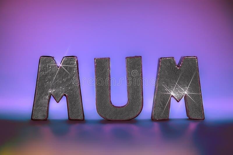 在迷人的闪耀的银箔信件的妈咪词与桃红色锂 库存图片