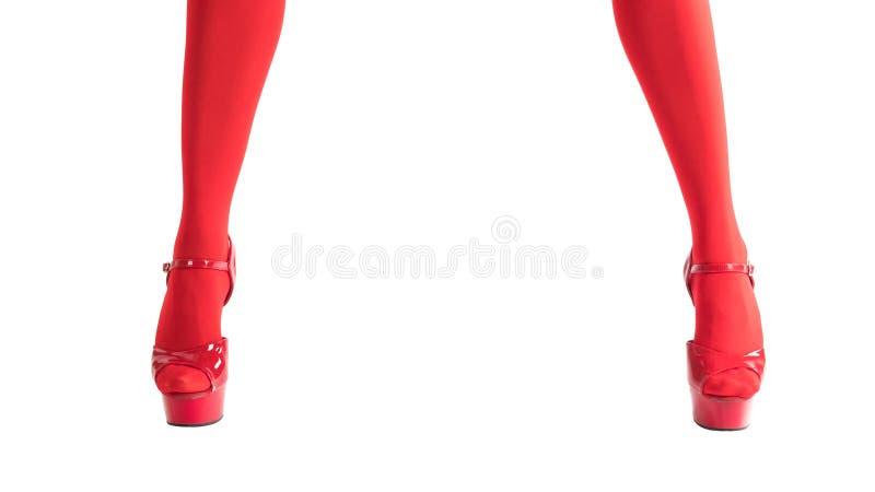 在迷信红色长袜和红色高跟鞋的性感的女性腿,隔绝在白色,圣诞节和新年概念 库存图片